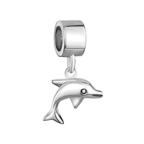 rling Silver Dolphin Dangle Animal Beads Fit Pandora Charm Bracelets (Animal Dolphins Bracelet)