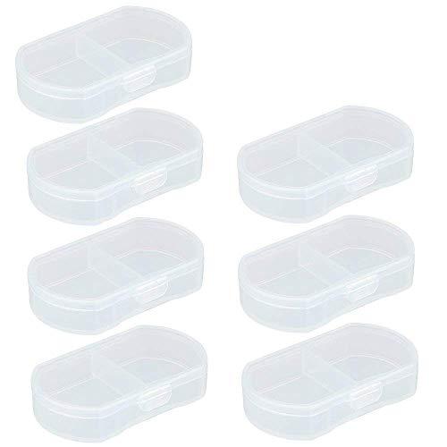 LazyMe 7 Pcs Small Daily Pill Box 2 Compartments PortableMedicine Organizer (Clear)