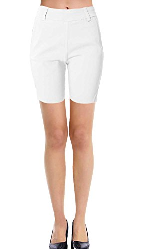 VIV Collection New Women's Straight Fit Trouser Short Pants (Medium, White)