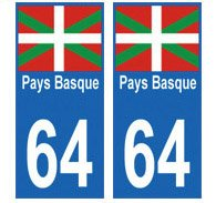 Autocollant plaque immatriculation Pays Basque dp BBPAZS