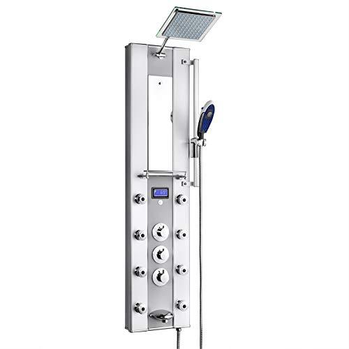 AKDY Aluminum Thermostatic Shower Panel W/Massage Spout Spray Az62318