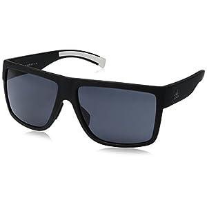 adidas 3matic Non-Polarized Iridium Rectangular Sunglasses, Black Matte, 60 mm