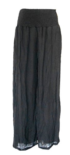 India Boutique Crinkle Gauze Pants Black