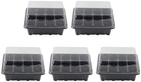 TOPBATHY 5 Pack Seed Starter Kit 12 Cells Seedling Trays Gardening Germination Tray Plant Grow KitHumidity Dome for Gardening Propagation Bonsai Germination (Black)