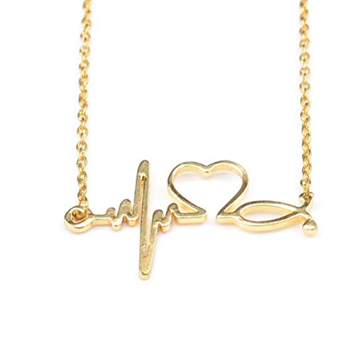 MIXIA Heart Shaped Stethoscope Wave ECG Pulse Necklaces Medical Nurse Doctor Women Girl Choker Gift Necklace Jewelry (Gold)