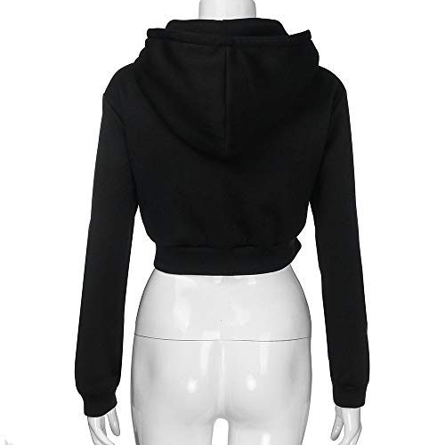 Jersh Solid Sweatshirt Cosy Hooded Color Solid Ladies Crop Zipper Casual Outerwear Women Black Women Top Fashion Hoodie Sweatshirt Coat rp4wAq7r