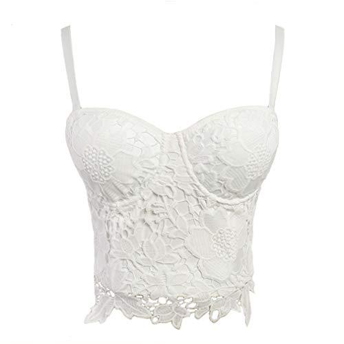 Cropped Lace Bustier - Embroidery Lace Push Up Bralet Women's Bustier Corset Wedding Party Corset Cropped Top Vest Plus Size White L