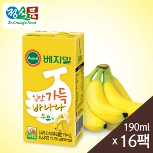 Vegemil Banana Soy Milk, Real Banana Juice added, Lactose Free; 1 Pack 190ml(6.4 fl oz); 베지밀 입안 가득 바나나 두유, (16 Packs)