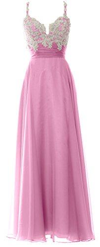 MACloth Women Straps Sweetheart Lace Chiffon Long Prom Dress Formal Evening Gown Rosa