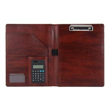 Padfolio Office - A4 PU Leather Multifunctional Clipboard Padfolio Business Office Document Organiser With Calculator - Stationery Supplies Paper & Notebooks - (Brown)