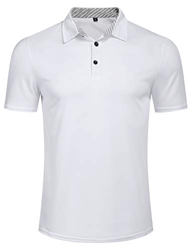 Mens Classic Casual Short Sleeve Striped Collar Slim Fit Cotton Polo Shirt White L Classic Striped Cotton Polo Shirt