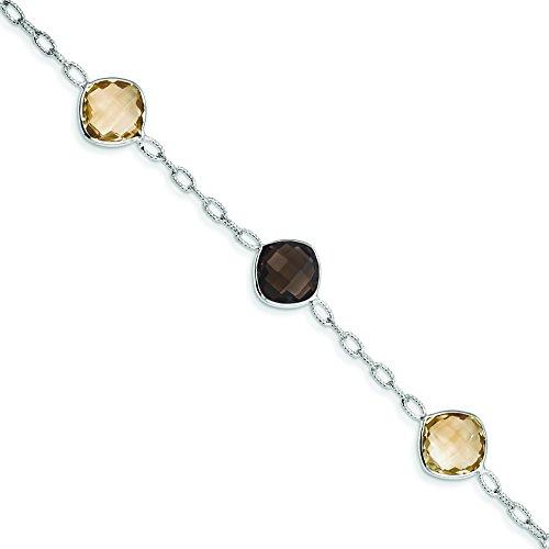 Sterling Silver Citrine & Smoky Quartz Bracelet
