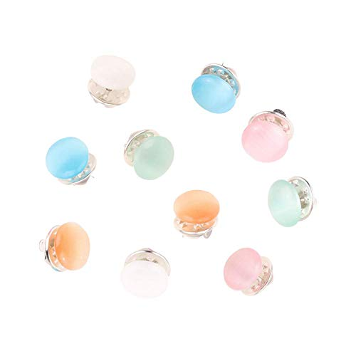 Joyci 10-Pack Women Shirt Brooch Lapel Pins Safety Buckle Knitwear Sweater Decorate Pearl Buttons Metal Tie Tacks Pin Back Clutch B (Opal)