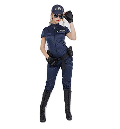 Club Queen 5pcs Teen/Women's SWAT Lady Costume with Holster Belt and Sunglasses STD Size -
