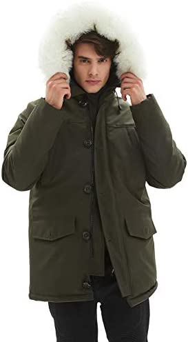 PUREMSX Down Alternative Jacket, Men's Insulated Expedition Mountain Thicken Lined Fur Hooded Long Anorak Parka Padded Coat(XS-3XL)