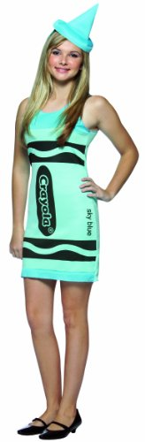 Sky Blue Crayon Costume (Rasta Imposta Crayola Tank Dress Teen Costume, Sky Blue, Teen 13-16)