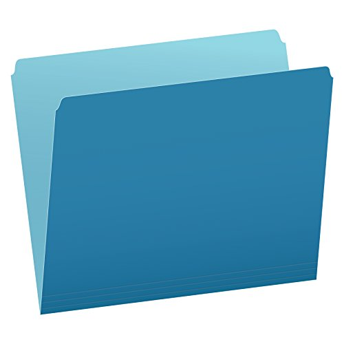 Pendaflex Two-Tone Color File Folders, Letter Size, Blue, Straight Cut, 100/BX (152 BLU)