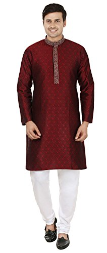 Uomo Seta Indiano Mapleclothing Kurta Partito Jacquard Wear Maroon Apparel Pajama TwxSSqZn1