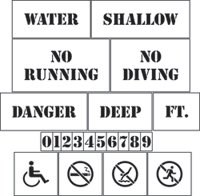 Pool Area Marking Stencils Kit - Stencils KIt - 10 mil medium-duty by Stencil Ease
