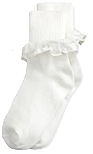 Jefferies Girls Misty pima Cotton Ruffle Ankle (Pima Cotton Dress Socks)