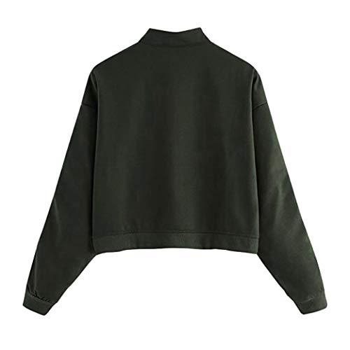 Tops Manches Blouse Slim Vert Femmes Col Fermeture BaZhaHei éclair Tendance Sweatshirt Haut Rétro Pull Longues 0177wnPq8U