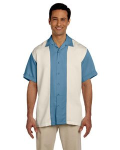Harriton Men's Two-Tone Bahama Cord Camp Shirt. M575 - Medium - Cloud Blue / Creme