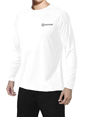 bc947cb24a5383 Pretchic Men's UPF 50+ UV Sun Protection Performance Long Sleeve Outdoor T  Shirt White X-Large