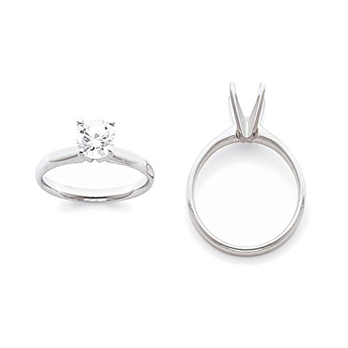 14k White Gold 2ct. Light-Weight Half-Round 4-Prong Solitaire Ring Mounting Size 2