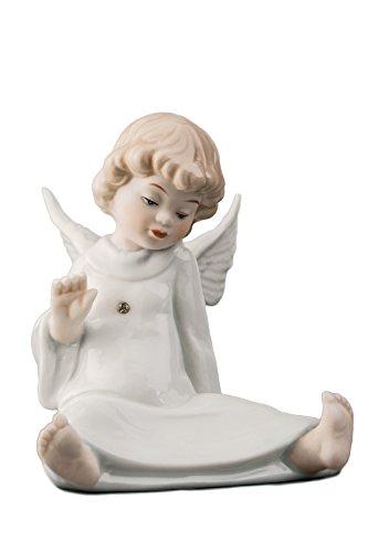 Cherub Angel Christmas Ornaments (Sitting Little Baby Angel Cherub Porcelain Figurine Statuette Figure Christmas Collectibles )