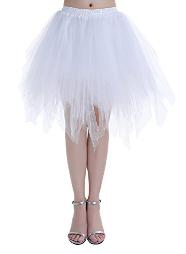 Dressystar Mujer Cancan Tutu Enagua Corta Mini De Tul Danza Fiesta Disfraces White