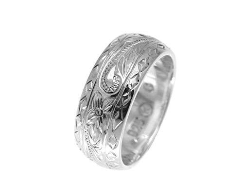 (925 sterling silver Hawaiian plumeria scroll smooth diamond cut edge 8mm thick heavy ring size 9)