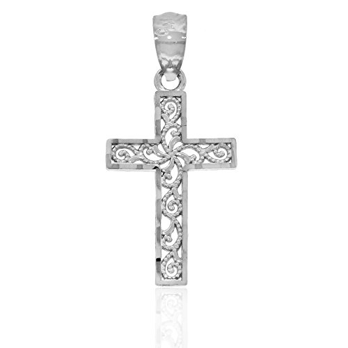 Diamond Cut White Gold Filigree Cross, 10k Solid Gold Filigree Cross