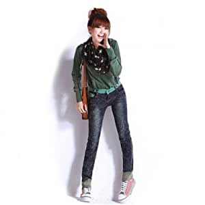 Fashionable Slimming Polka Dot Splicing Double Button Design Jeans Women's Overalls