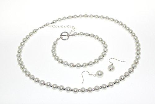 Perle en verre imitation bijoux bracelet, collier, boucles d'oreilles.