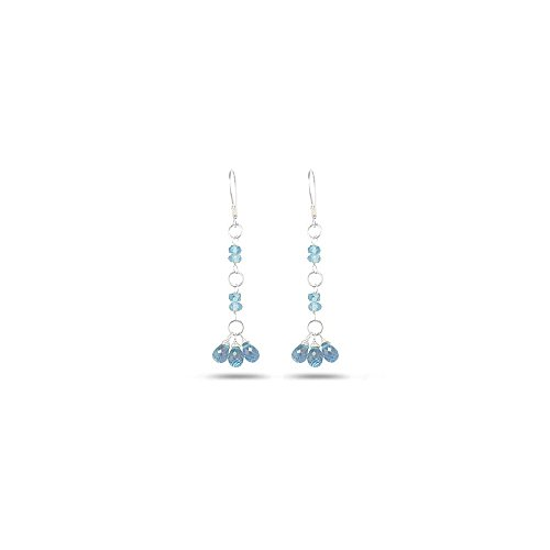 3.00-4.00 Cts Aquamarine Earrings in Sterling Silver