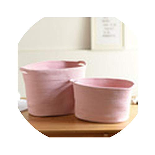 Asteria-Ashley Nordic Style Cotton Rope Storage Baskets Handmade Woven Dirty Clothes Laundry Basket Large Kids Toy Sundries Organizer Hamper,Pink 40X23X22]()
