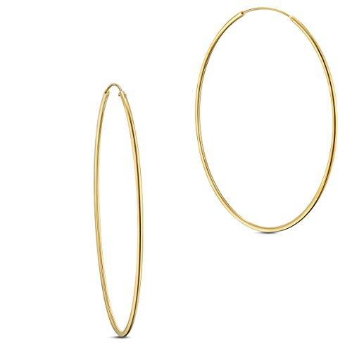 SHEGRACE 925 Sterling Silver Hoop Earrings,24K Gold/Platinum Plated for Women,Daimeter15,25,30,40,50,70mm