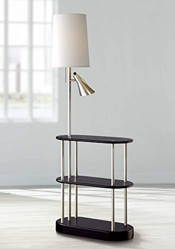 Modern Floor Lamp with Shelves Espresso Brushed Steel Off White Linen Shade Dimmable for Living Room Reading - Possini Euro Design