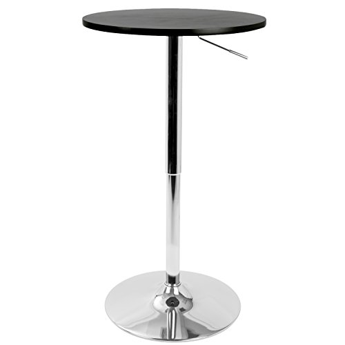 WOYBR BT-ADJ23TW BK MDF, Chrome Top Does Not Spin. Adjustable Bar Table ()