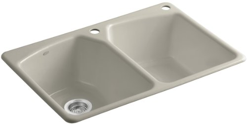 Kohler K-6491-2R-G9 Tanager Self-Rimming Kitchen Sink with Single-Hole Faucet Drilling and One Accessory Hole at Right, Sandbar ()