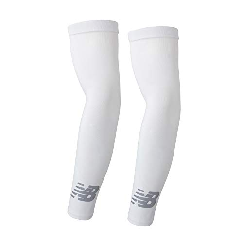 (New Balance Unisex Outdoor Sports Compression Arm Sleeves, Arm Warmer, White, Small and Medium (1 Pair))