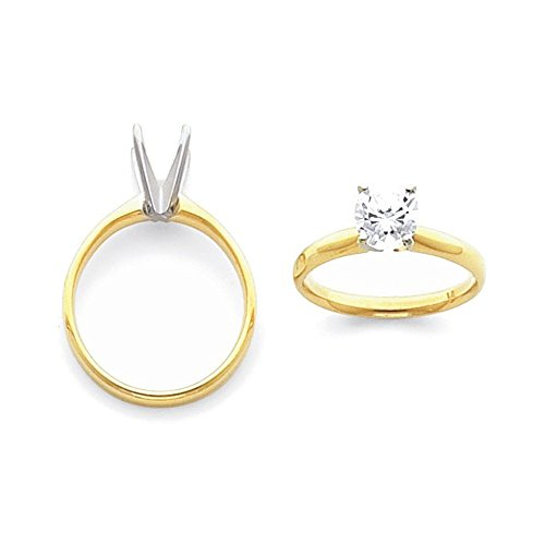 14k Two-Tone 2ct. Light-Weight Half-Round 4-Prong Solitaire Ring Mounting Size 2