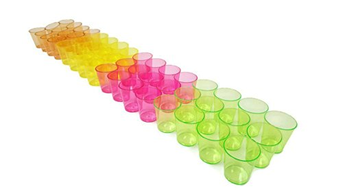 Plastic Shot Glasses   Multicolored 1 Ounce Shot Glasses  50 Pack  1 Ounce