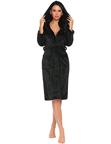 HOTOUCH Black Robe Long Plush Bathrobe Sleepwear With Pockets and Hood For Womens (Black Robe With Hood)