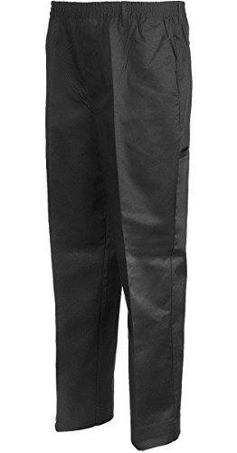 - Benefit Wear Mens Full Elastic Waist 5-Pocket Pants with Mock Fly (M, Black)