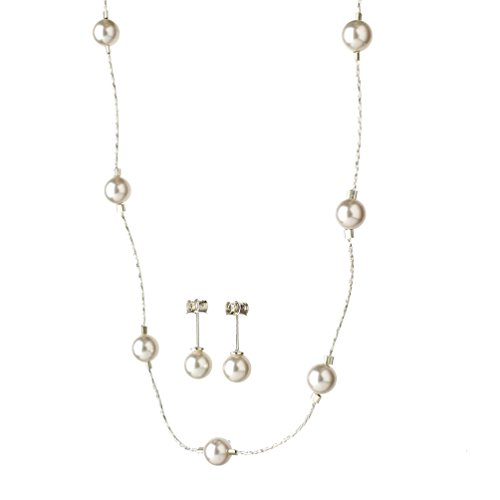 - Joyful Creations Sterling Silver Chain Simulated Pearl Station Necklace Earrings Made with Swarovski Crystals, 18