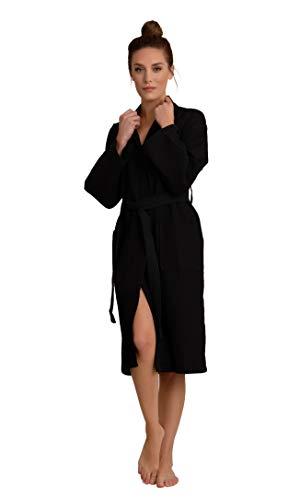 Luxurious Soft Absorbent Lightweight Long Kimono Waffle Spa Bathrobe for Women (Medium, Black)