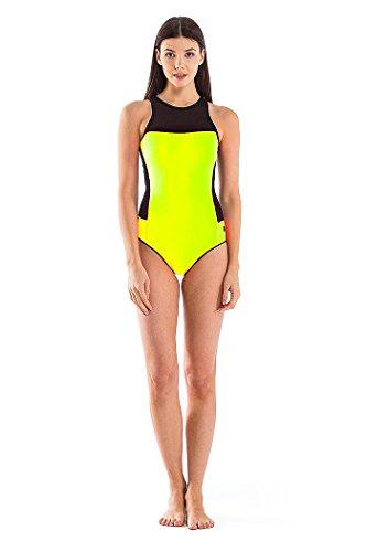 Glidesoul Women's High Neck Onepiece Swimsuit, Lemon, Small by GlideSoul