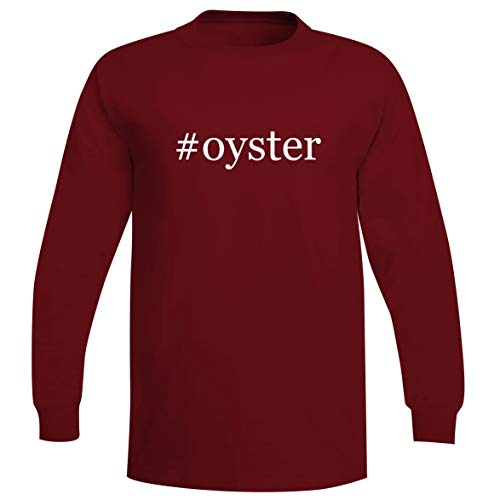 (#Oyster - A Soft & Comfortable Hashtag Men's Long Sleeve T-Shirt, Red, Small)