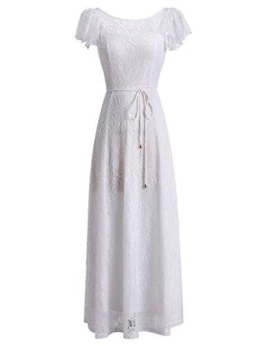 BeryLove Women's Long Floral Lace Maxi Dress Evening Party Wedding Dress BLP7009WhiteL